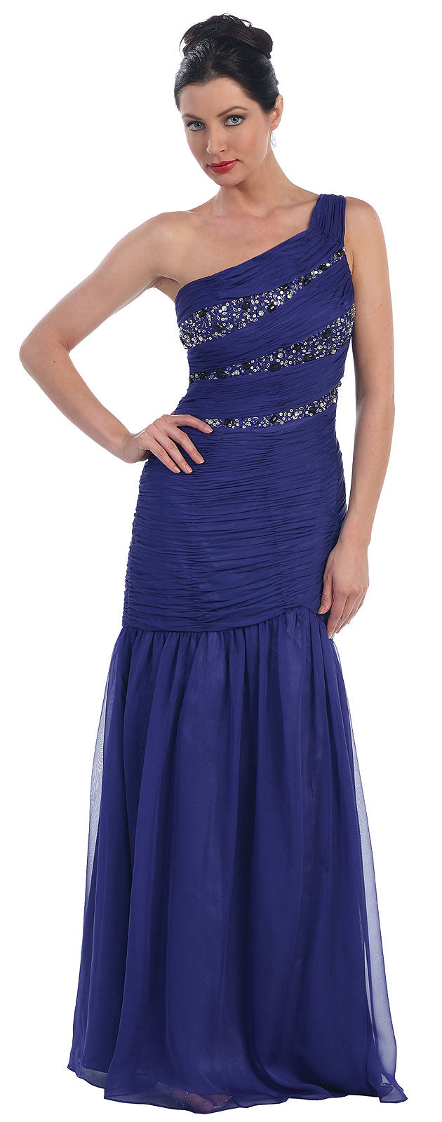 Main image of One Shoulder Ruched Bodice Mermaid Formal Dress