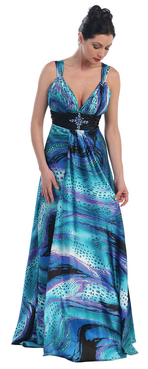 Main image of Empire Style Multi Color Full Length Formal Dress