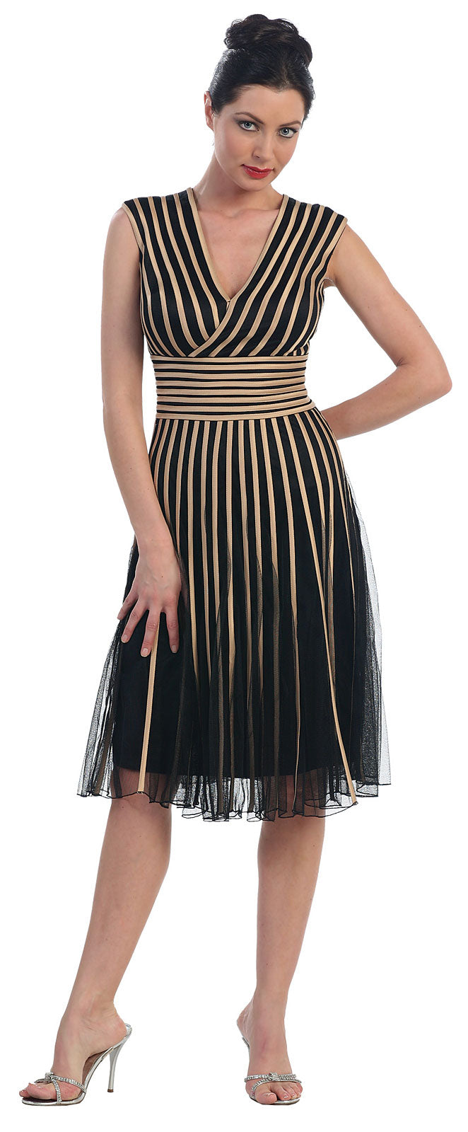 Main image of Mesh Tea Length Formal Dress With Striped Detail