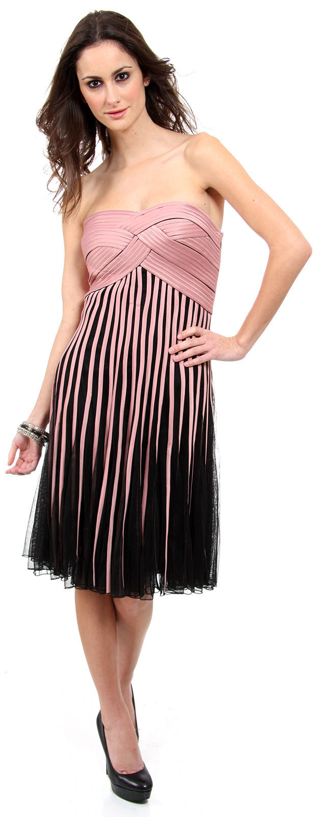 Main image of Strapless Knee Length Party Dress With Braided Bustline