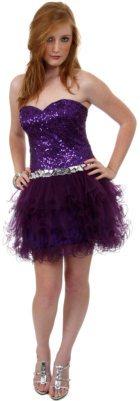 Main image of Strapless Sequined Short Party Cocktail Dress