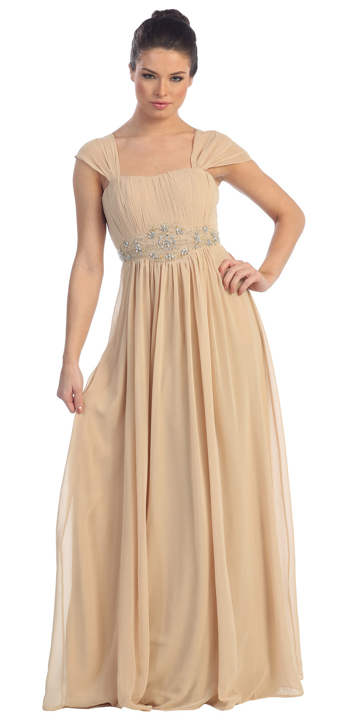 Main image of Empire Waist Formal Dress With Bead Accent