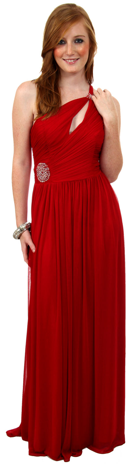 Single Shoulder Shirred Brooch Formal Prom Dress