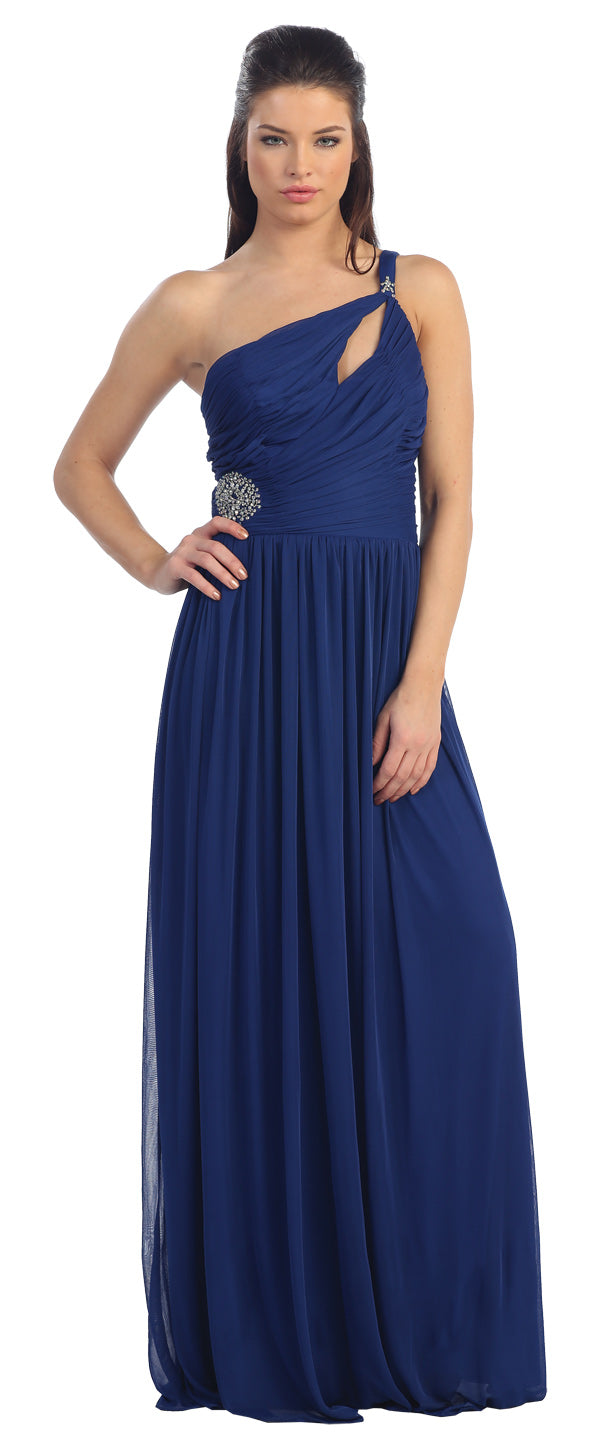 Main image of Single Shoulder Shirred Brooch Formal Prom Dress