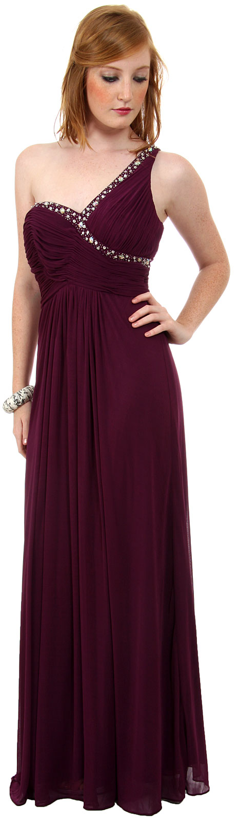 Main image of Greco Roman Formal Prom Dress With Bead Accents