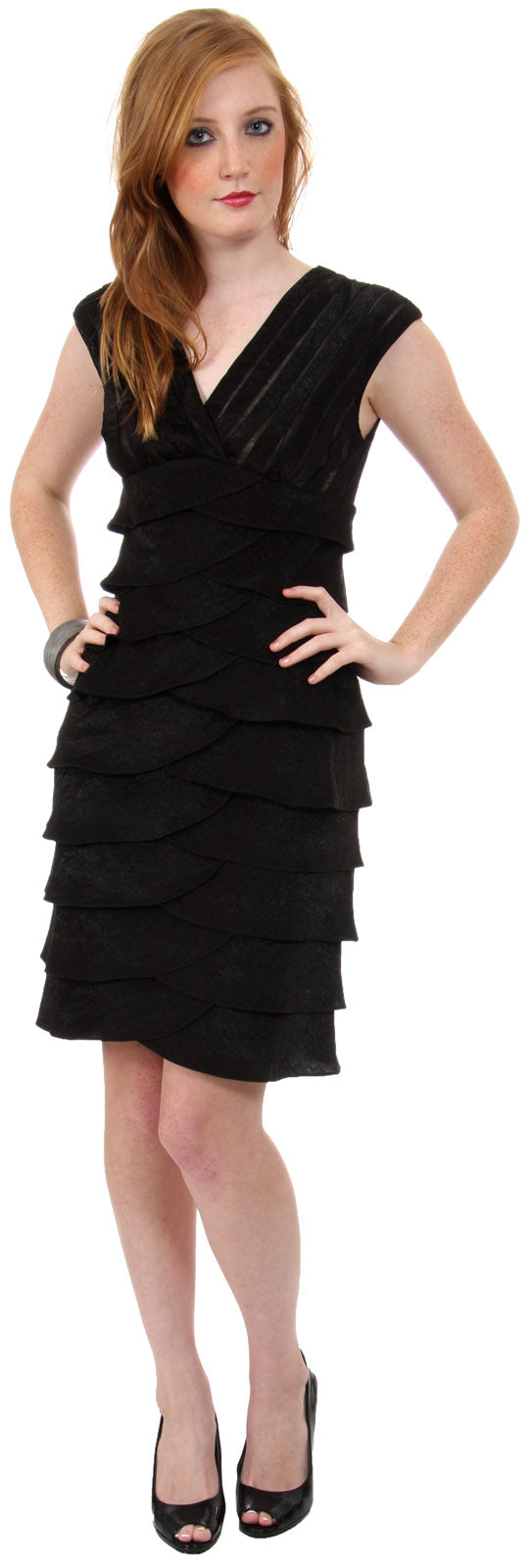 Image of Aqua Inspired Cocktail Dress With Cascading Ruffles in Black