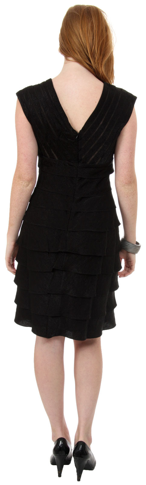 Image of Aqua Inspired Cocktail Dress With Cascading Ruffles back in Black