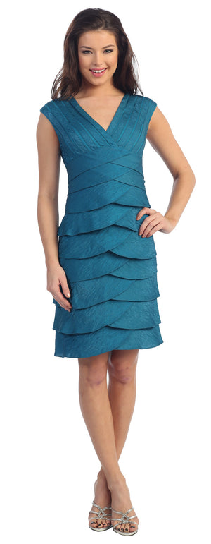Image of Aqua Inspired Cocktail Dress With Cascading Ruffles in Teal