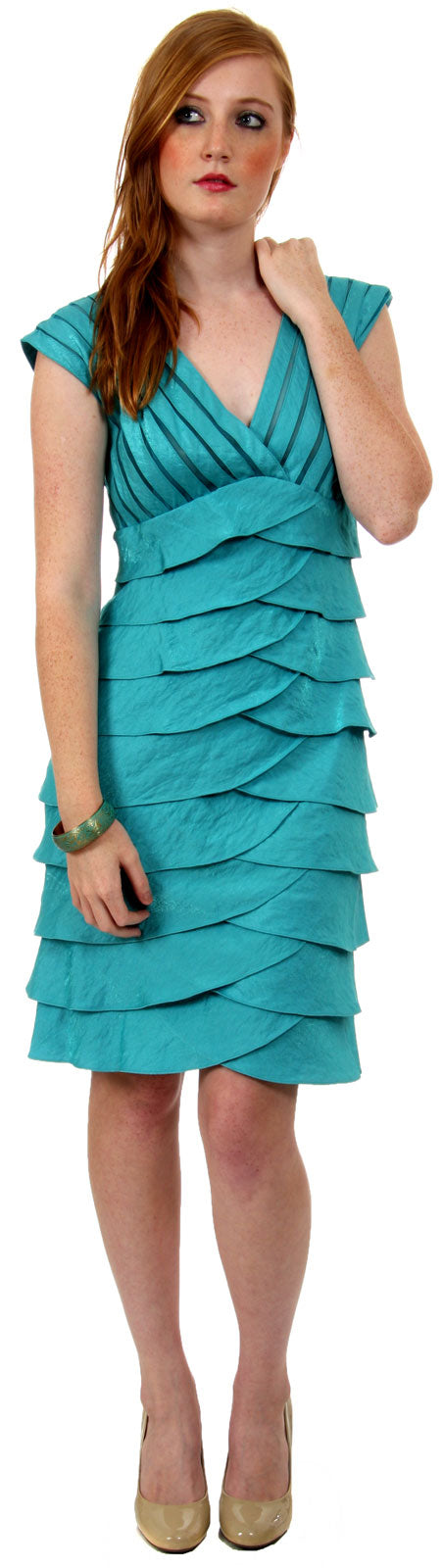 Main image of Aqua Inspired Cocktail Dress With Cascading Ruffles