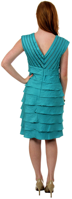 Back image of Aqua Inspired Cocktail Dress With Cascading Ruffles