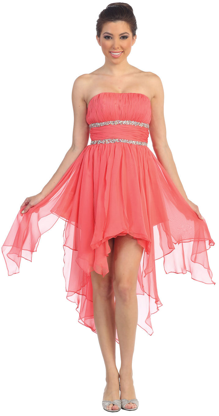 Main image of Elegant High-low Prom Dress With Asymmetrical Hem