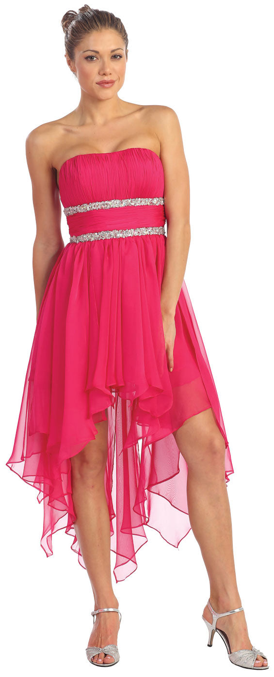 Image of Elegant High-low Prom Dress With Asymmetrical Hem in Fuchsia