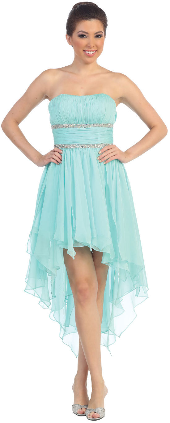 Image of Elegant High-low Prom Dress With Asymmetrical Hem in Mint