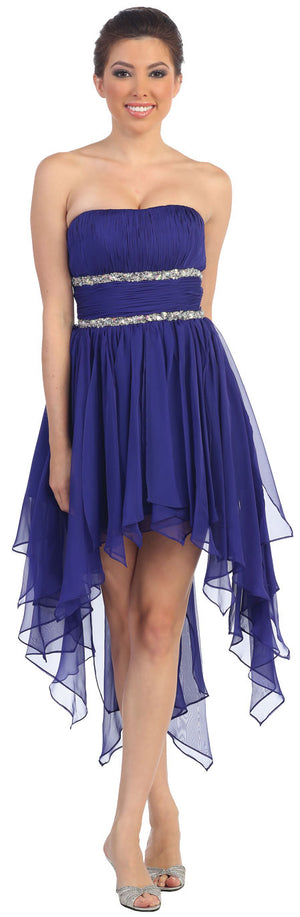 Image of Elegant High-low Prom Dress With Asymmetrical Hem in Purple