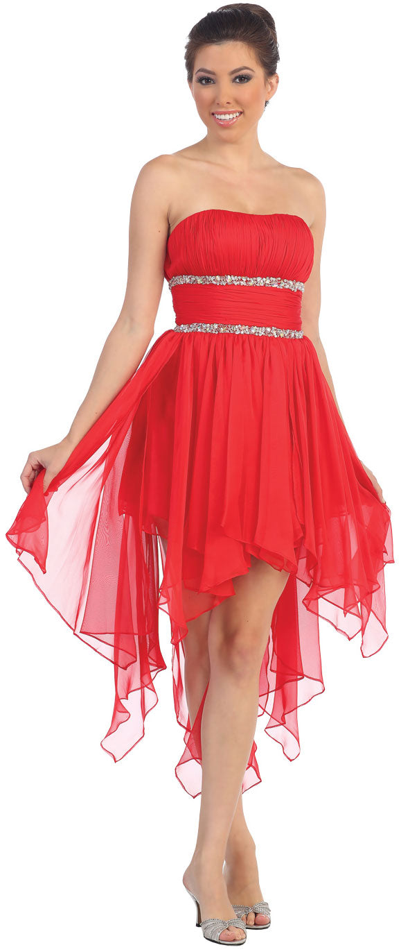 Image of Elegant High-low Prom Dress With Asymmetrical Hem in Red