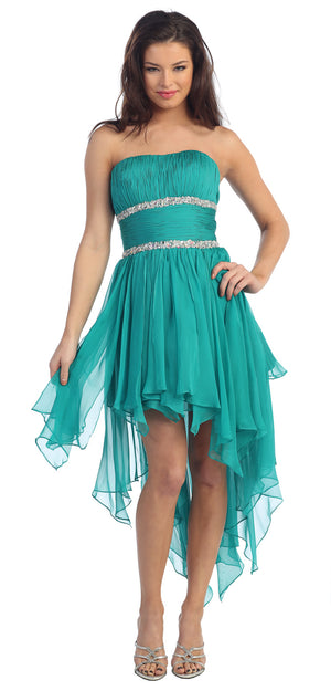 Image of Elegant High-low Prom Dress With Asymmetrical Hem in Teal