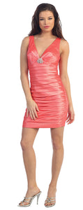 Main image of Deep V-neck Short Pleated Party Dress