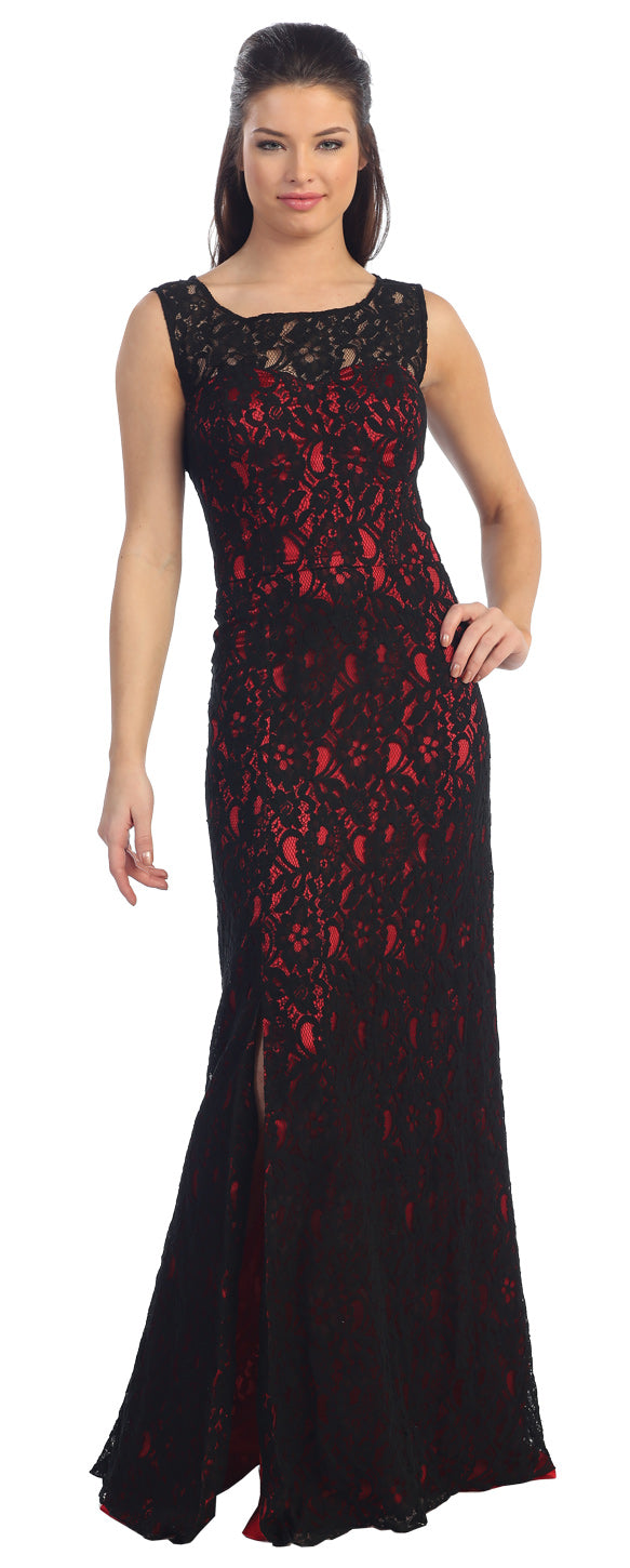 Main image of Sleeveless Lace Long Formal Dress With Front Slit