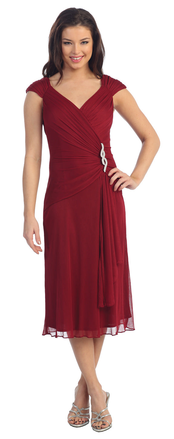 Main image of V-neck Broad Straps Medium Length Cocktail Party Dress