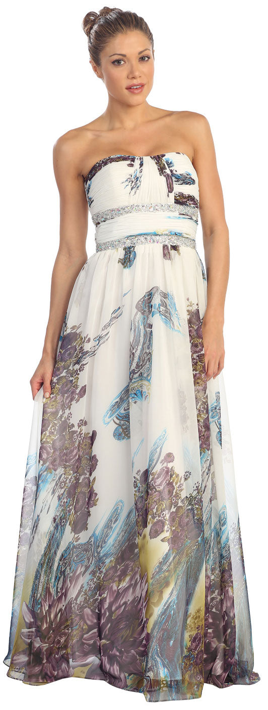 Main image of Strapless Printed Long Formal Prom Dress With Beaded Waist