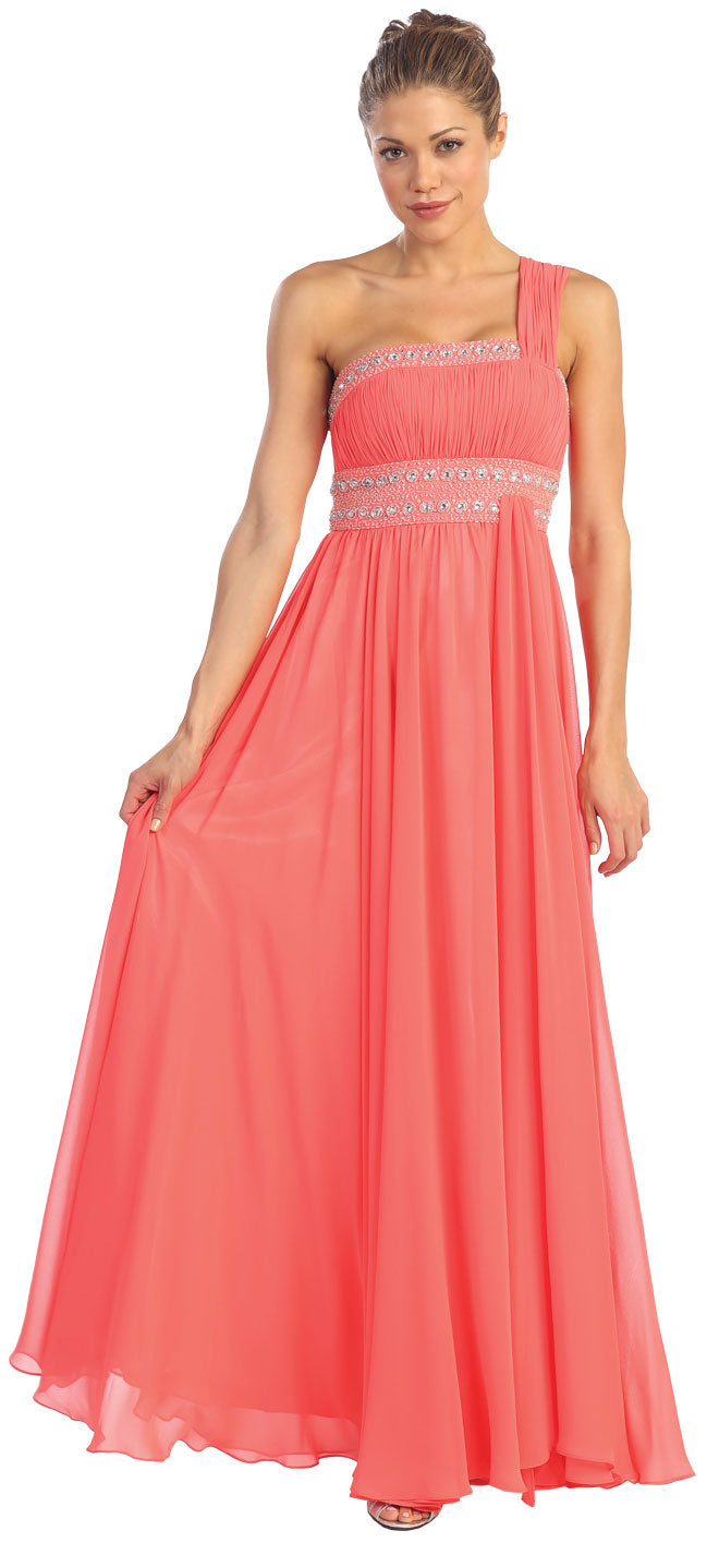 Main image of One Shoulder Ruched Long Formal Dress With Bejeweled Bust
