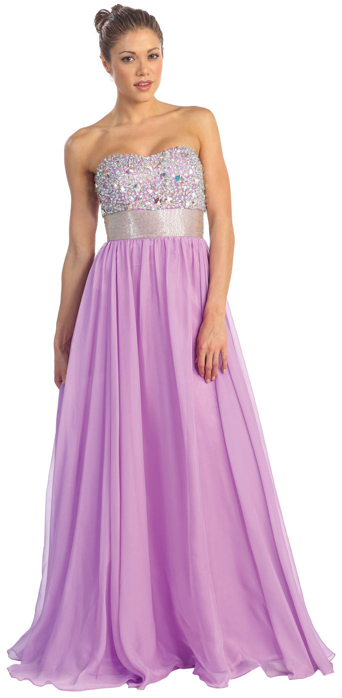 Main image of Bejeweled Bust Floor Length Formal Evening Prom Dress