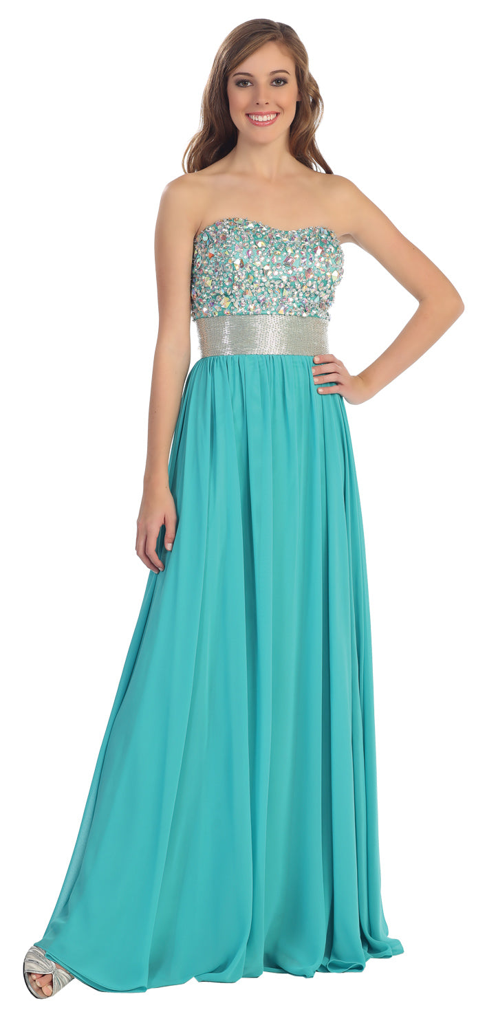 Bejeweled Bust Floor Length Formal Evening Prom Dress