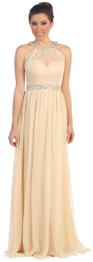 Image of Halter Neck Floor Length Formal Prom Dress With Rhinestones in Champaign