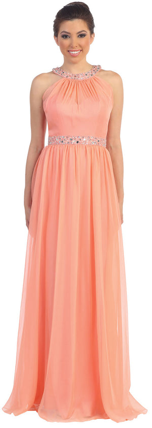 Image of Halter Neck Floor Length Formal Prom Dress With Rhinestones in Coral