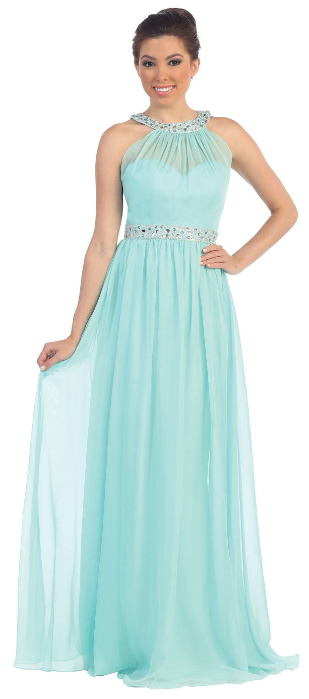 Image of Halter Neck Floor Length Formal Prom Dress With Rhinestones in Mint