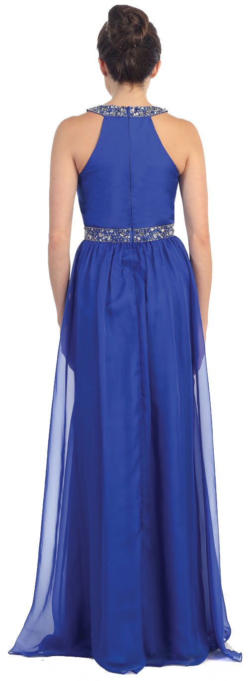 Back image of Halter Neck Floor Length Formal Prom Dress With Rhinestones