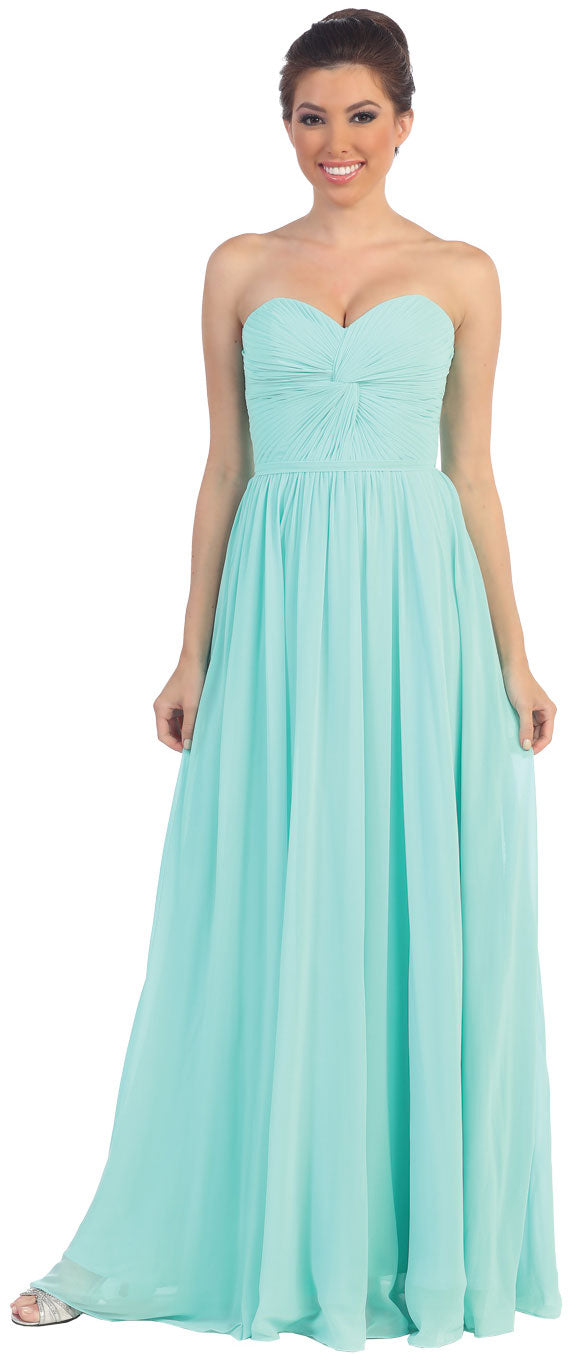 Strapless Twist Knot Bust Formal Bridesmaid Dress