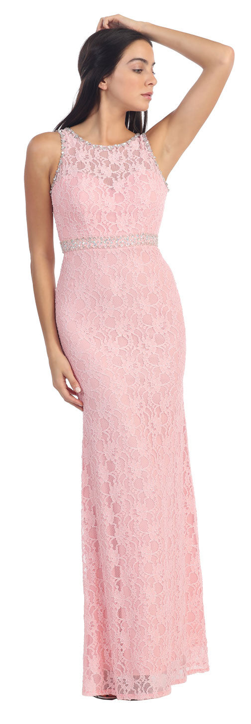 Main image of Floral Lace Beaded Long Formal Prom Dress With Cutout