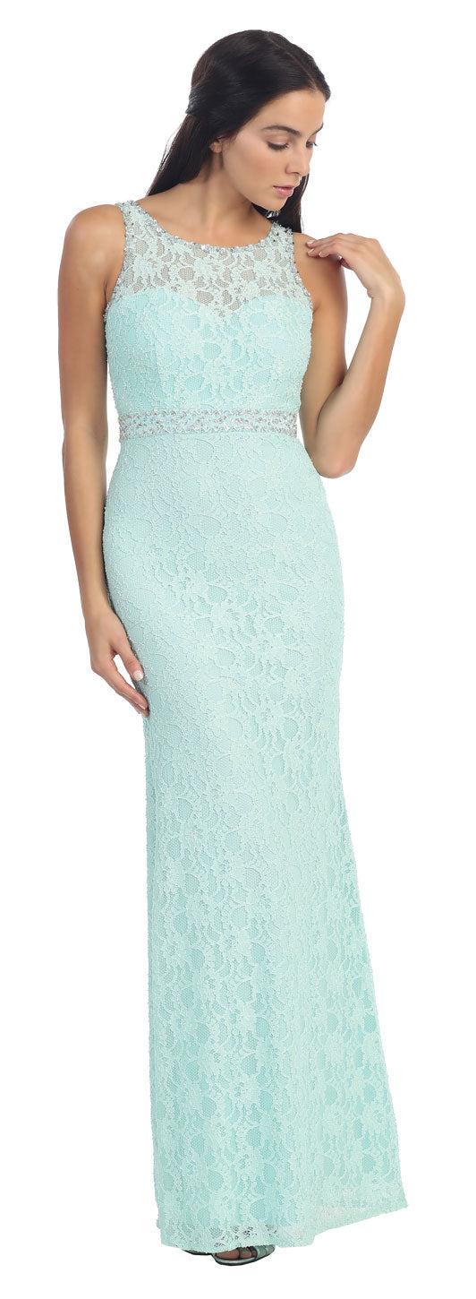 Floral Lace Beaded Long Formal Prom Dress with Cutout