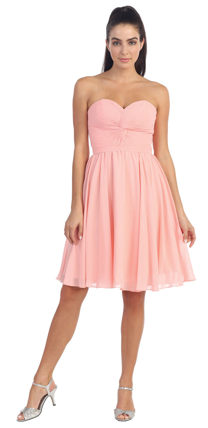 Image of Strapless Pleated Knot Bust Short  bridesmaid Party Dress in Blush