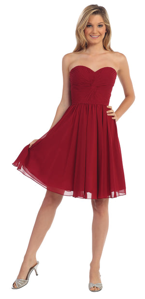 Main image of Strapless Pleated Knot Bust Short  bridesmaid Party Dress