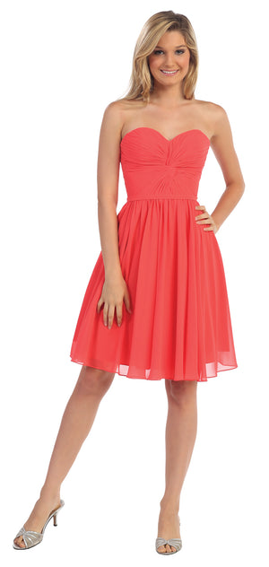 Image of Strapless Pleated Knot Bust Short  bridesmaid Party Dress in Coral