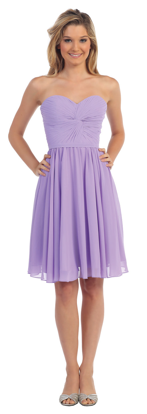 Image of Strapless Pleated Knot Bust Short  bridesmaid Party Dress in Lilac