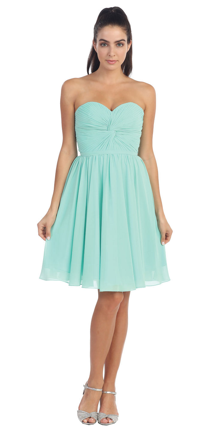 Image of Strapless Pleated Knot Bust Short  bridesmaid Party Dress in Mint