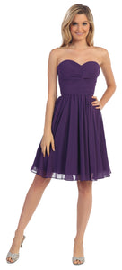Strapless Pleated Knot Bust Short  Bridesmaid Party Dress