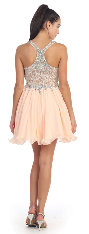 Image of V-neck Racer Back Rhinestones Bust Short Formal Prom Dress back in Peach