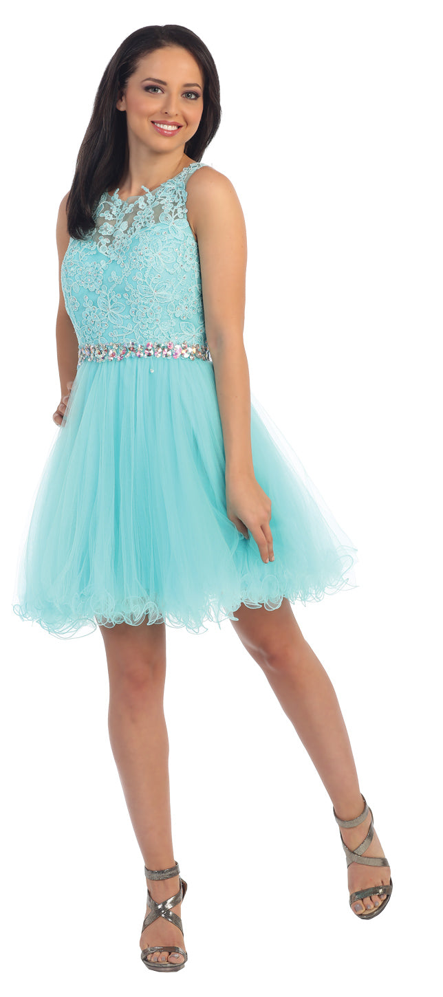 Image of Lace Top Tulle Skirt Short Homecoming Party Dress in Aqua