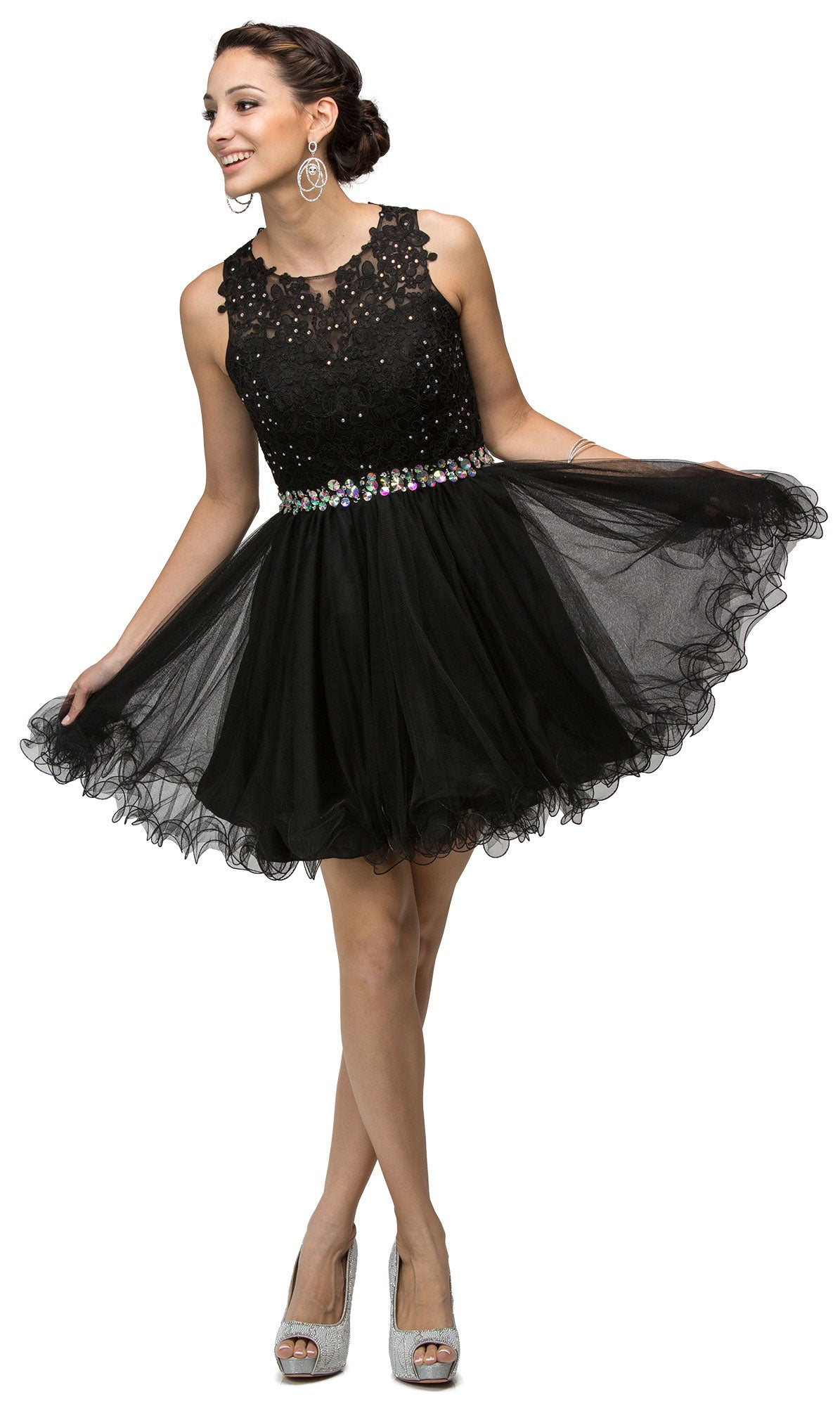 Image of Lace Top Tulle Skirt Short Homecoming Party Dress in Black