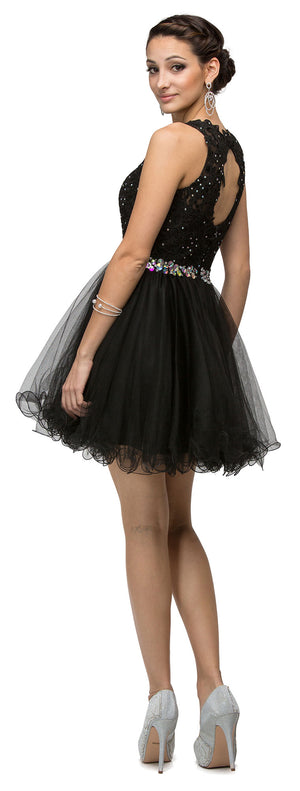Image of Lace Top Tulle Skirt Short Homecoming Party Dress back in Black