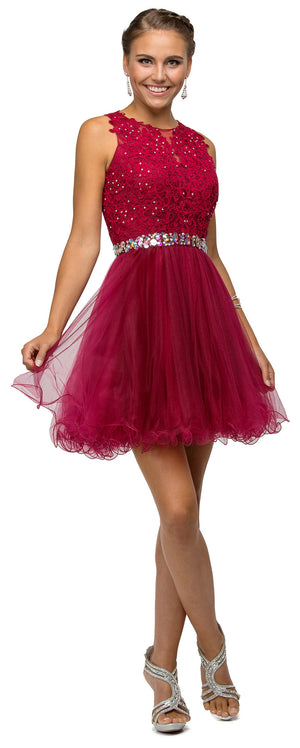 Main image of Lace Top Tulle Skirt Short Homecoming Party Dress