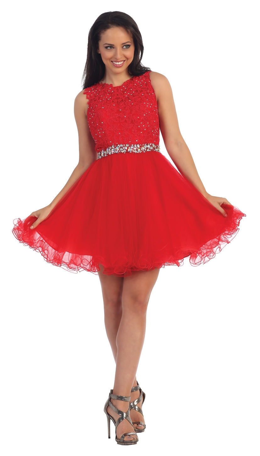 Image of Lace Top Tulle Skirt Short Homecoming Party Dress in Red