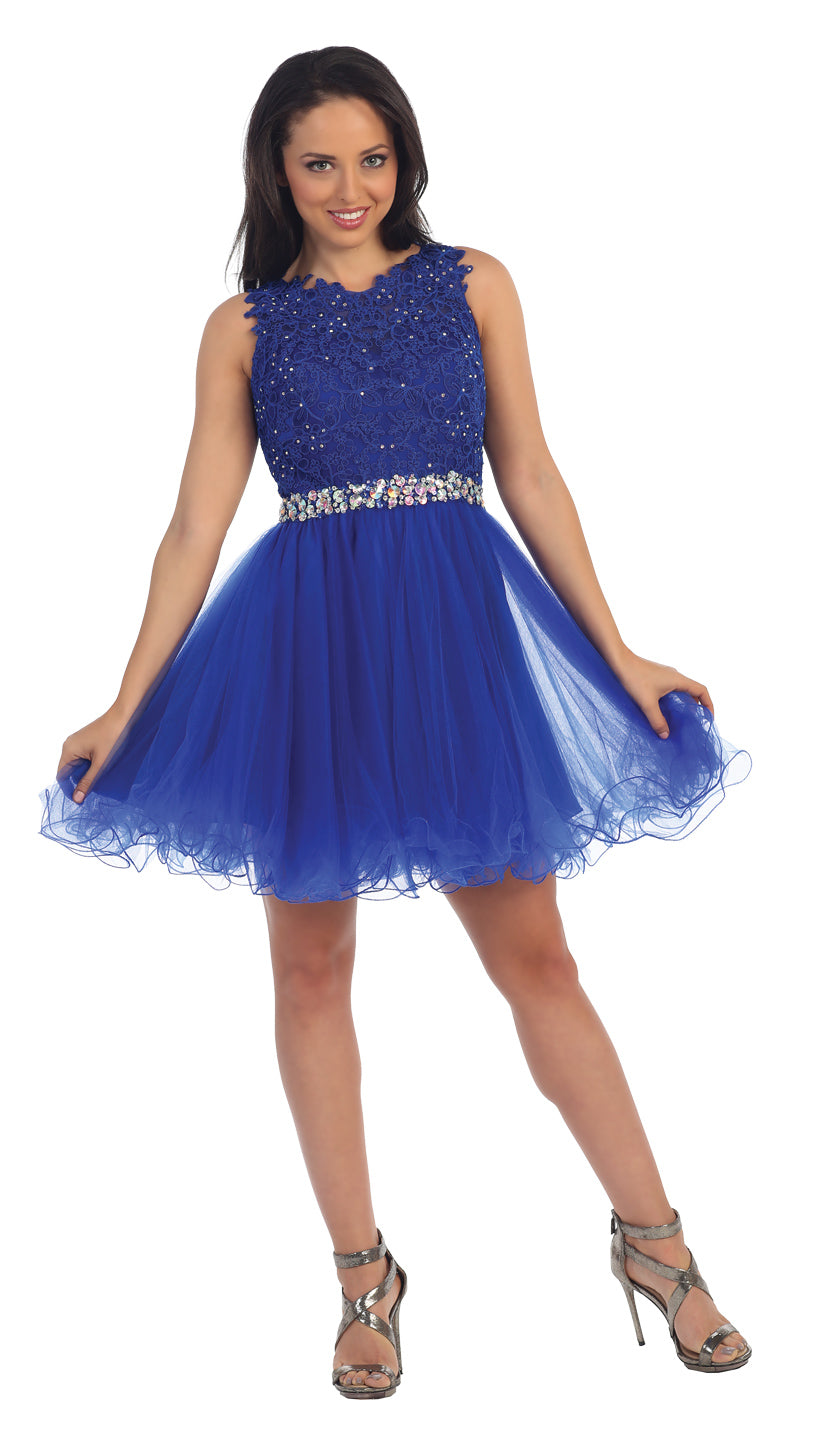 Image of Lace Top Tulle Skirt Short Homecoming Party Dress in Royal Blue