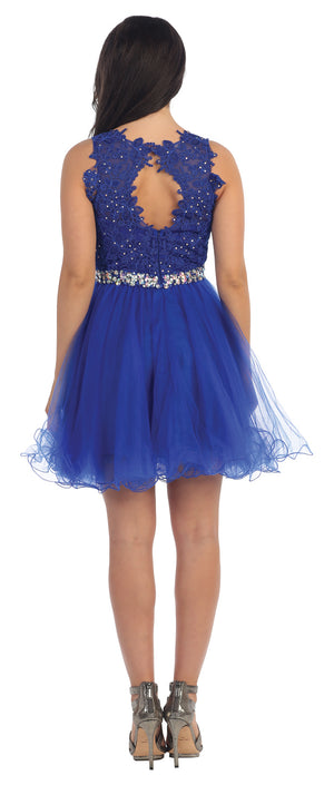 Back image of Lace Top Tulle Skirt Short Homecoming Party Dress