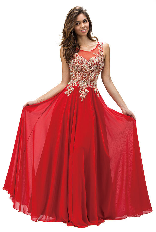 Main image of Jewel Embellished Sheer Mesh Top Chiffon Prom Dress
