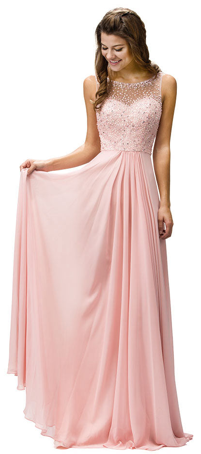 Main image of Sleeveless Sequins Embellished Floor Length Prom Dress